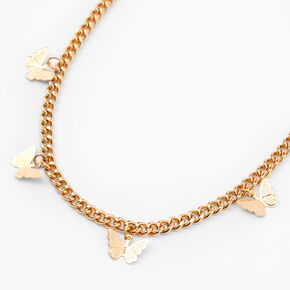 Gold Butterfly Charm Chain Necklace,