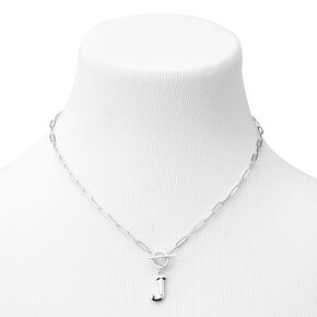 Silver Initial Toggle Chain Link Pendant Necklace - J,