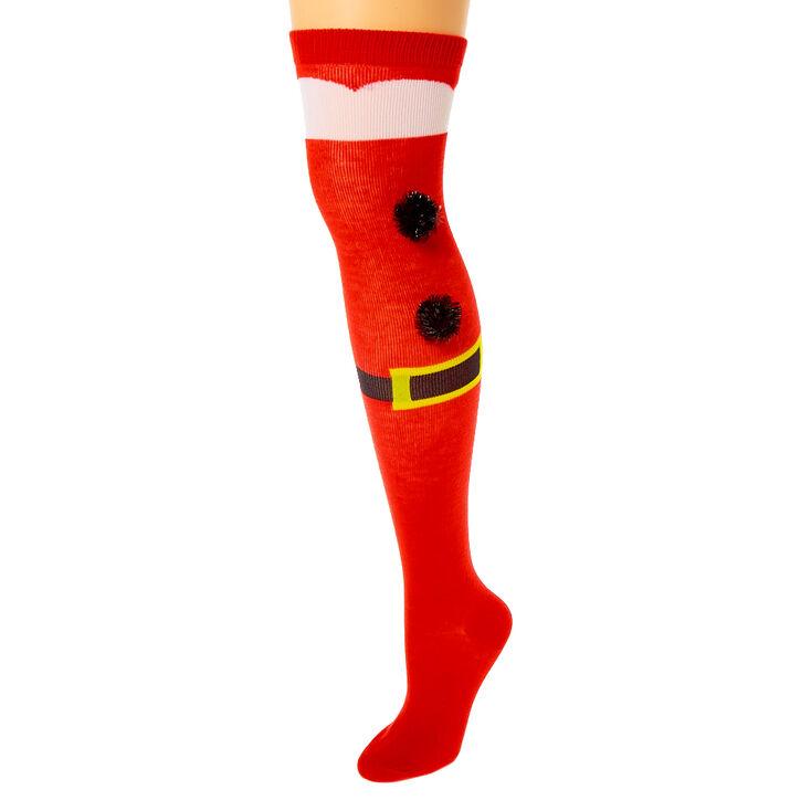 Santa Pom Over the Knee Socks - Red,