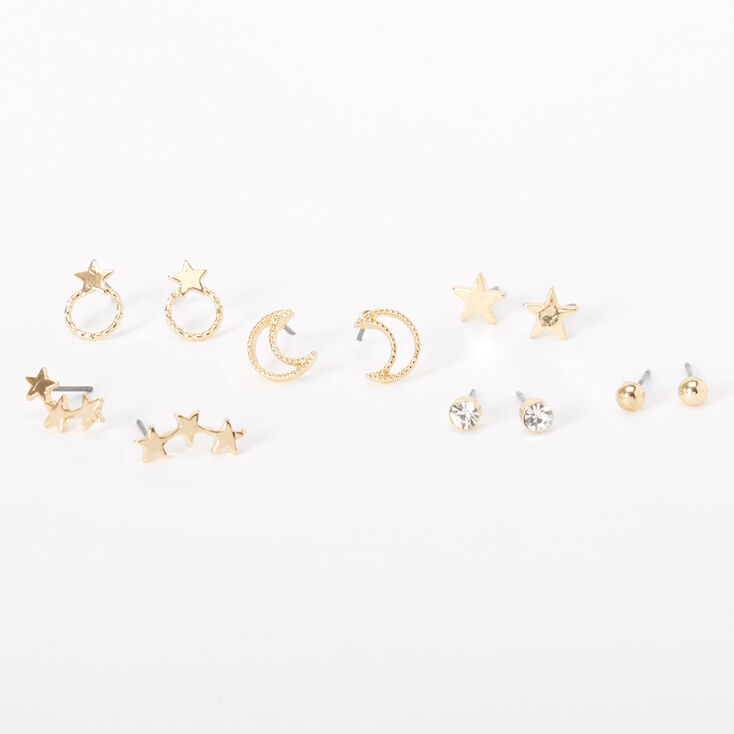 Gold Moon Star Stud Earrings - 6 Pack,