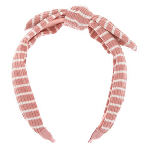 Ribbed Striped Knotted Bow Headband - Pink,