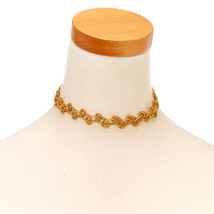 Gold Seed Bead Choker Necklace,