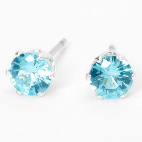 Silver Cubic Zirconia Round Stud Earrings - Turquoise, 5MM,