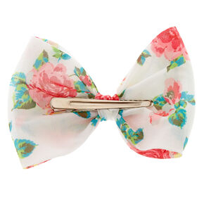 White Floral Structured Bow Hair Clip,
