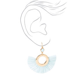 "Gold 2"" Beaded Circle Fan Drop Earrings - Blue,"