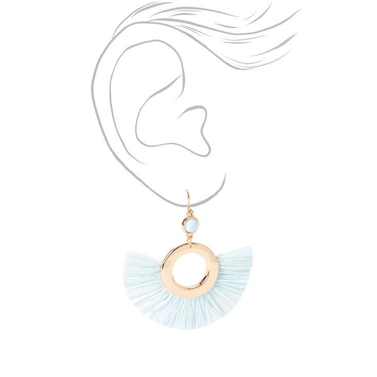 """Gold 2"""" Beaded Circle Fan Drop Earrings - Blue,"""