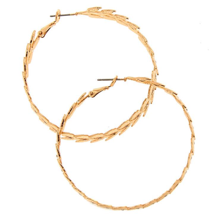 50MM Gold-Tone Leaf Hoop Earrings,