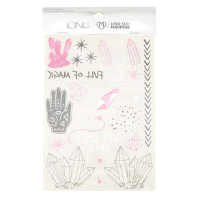 Crystal Magic Metallic Temporary Tattoos - Pink, 40 Pack,