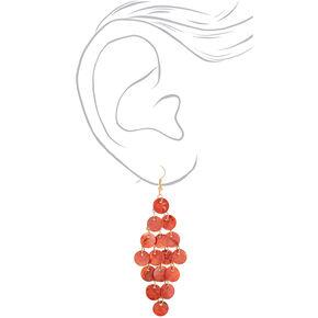 """Gold 3"""" Shell Chandelier Drop Earrings - Pink,"""