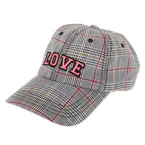 Love Plaid Baseball Cap - Pink,