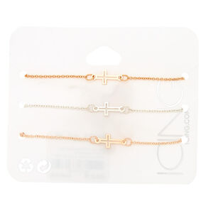 Mixed Metal Cross Statement Bracelets - 3 Pack,