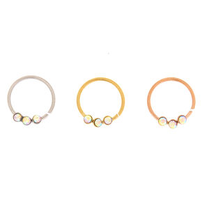 Mixed Metal 20G Stone Nose Rings - 3 Pack,