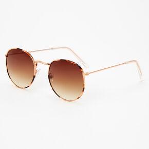 Gold Tortoiseshell Round Sunglasses,