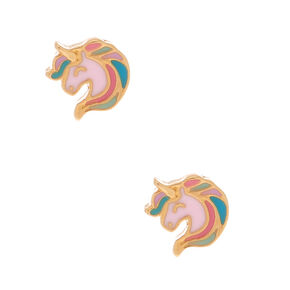 18kt Gold Plated Unicorn Stud Earrings - Pink,