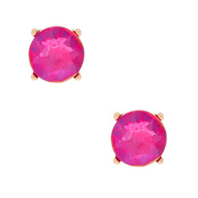 Gold 10MM Round Stone Stud Earrings - Fuchsia,