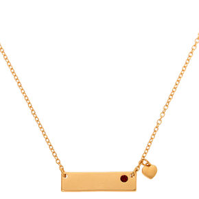 Gold July Birthstone Bar Pendant Necklace - Ruby,
