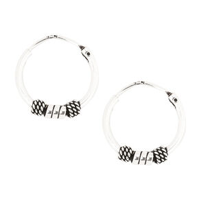 Sterling Silver Small Silver Beaded Hoop Earrings,