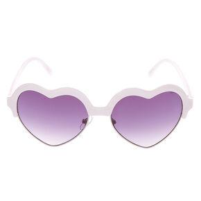Heart Shaped Brow Sunglasses - White,