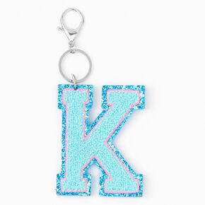 Blue Varsity Initial Keychain - K,