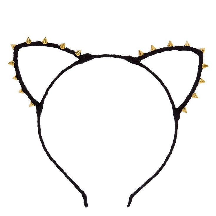 Gold Stud Black Cat Ears Headband,