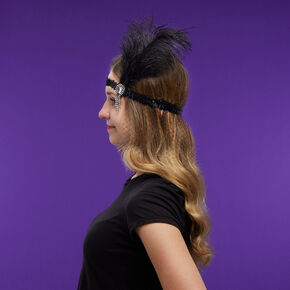 Flapper Sequin Net Headwrap - Black,