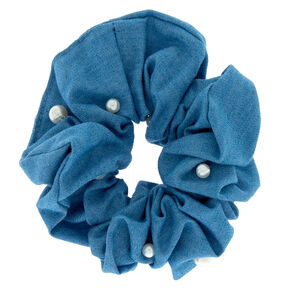 Denim + Pearl Hair Scrunchie,