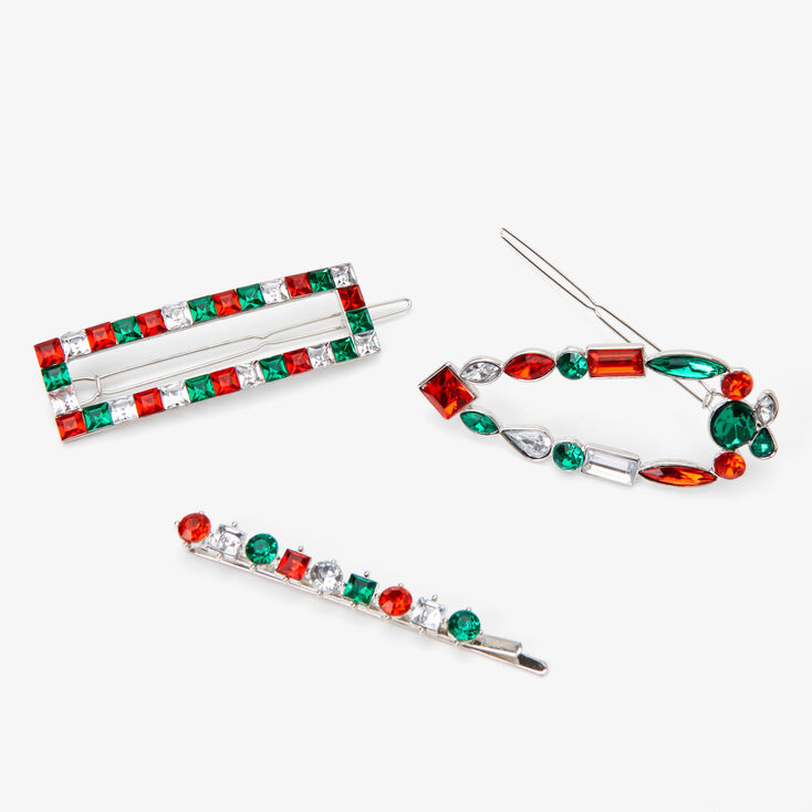 Large Gem Mixed Holiday Hair Clips - 3 Pack,