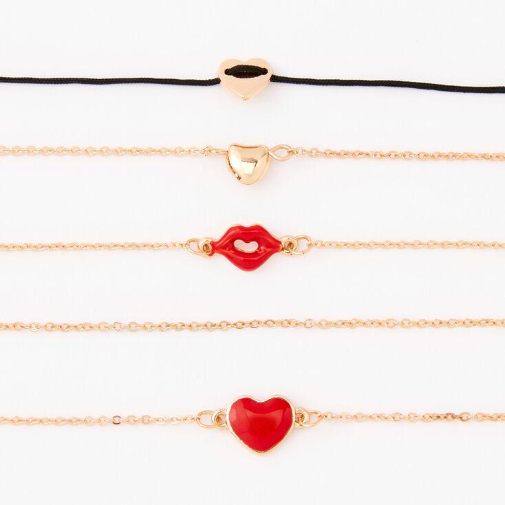 Gold Love & Kisses Chain Bracelets - 5 Pack,