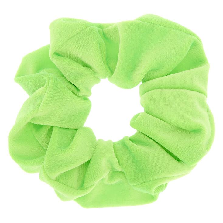 Velvet Hair Scrunchie - Neon Green,