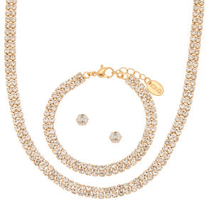 Gold Rhinestone Choker Jewelry Set - 3 Pack,