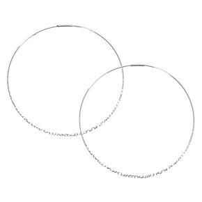 Silver 80MM Hammered Hoop Earrings,