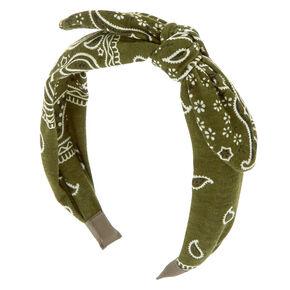 Bandana Knotted Bow Headband - Olive Green,