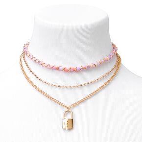 Gold Tie Dye Lock Key Multi Strand Pendant Necklace - Purple,