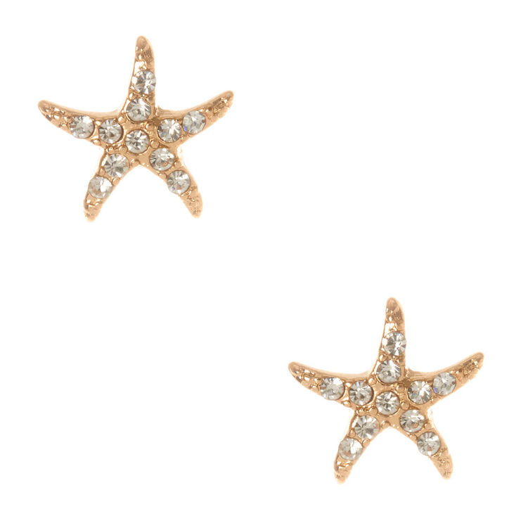 Gold & Crystals Starfish Stud Earrings,