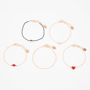 Gold Love & Kisses Chain Bracelets - 5 Pack,
