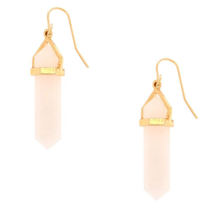 "Crystal Shape 1.5"" Drop Earrings - Pink,"
