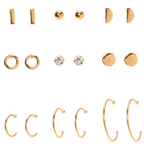 Gold Mixed Geometric Earrings - 9 Pack,