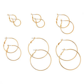 6 Pack Graduated Skinny Gold Tone Hoop Earrings,