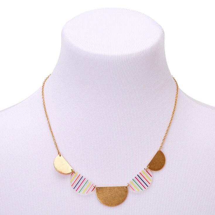 Gold Rainbow Striped Half Circle Statement Necklace,