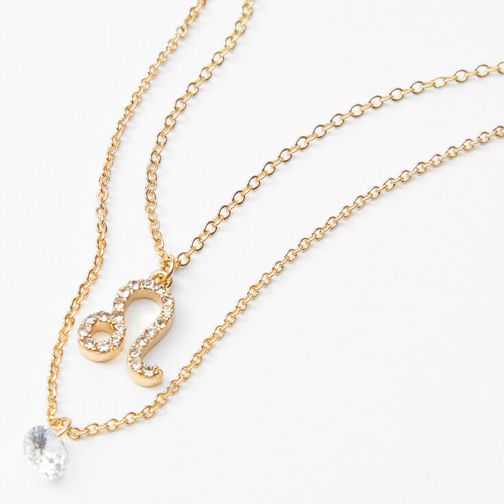 Gold Cubic Zirconia Zodiac Multi Strand Necklace - Leo,