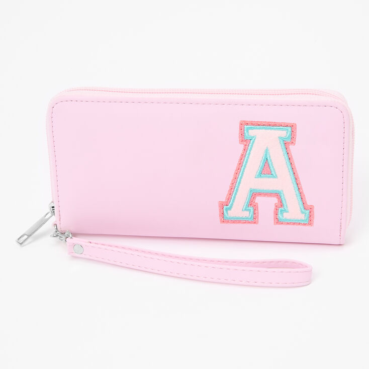 Pink Varsity Initial Wristlet - A,