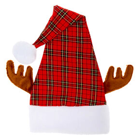 Reindeer Plaid Santa Hat - Red,