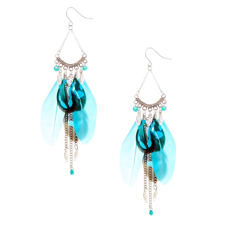 """Silver 4"""" Beaded Feather Drop Earrings - Turquoise,"""