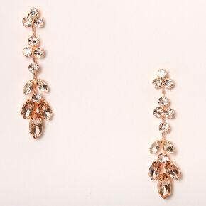 """Rose Gold 2"""" Leaf Vine Drop Earrings,"""