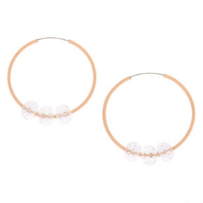 Rose Gold 25MM Bead Hoop Earrings - Clear,