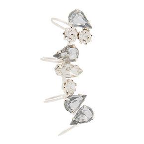 """Silver 1"""" Crystal Ear Cuff,"""
