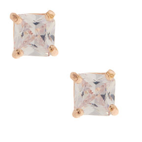 Rose Gold Cubic Zirconia Square Stud Earrings - 5MM,