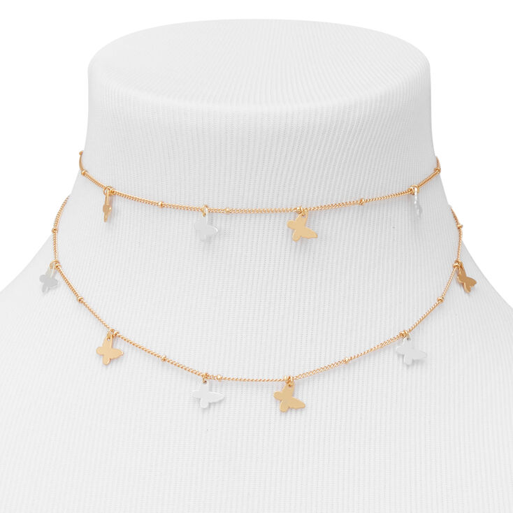 Gold Two Tone Butterfly Multi Strand Choker Necklace,