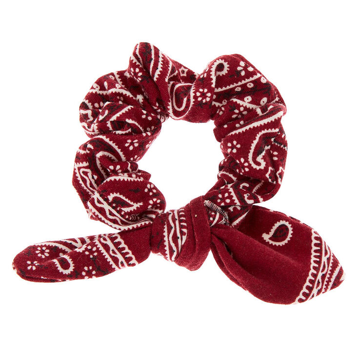 Small Bandana Knotted Bow Hair Scrunchie - Burgundy,