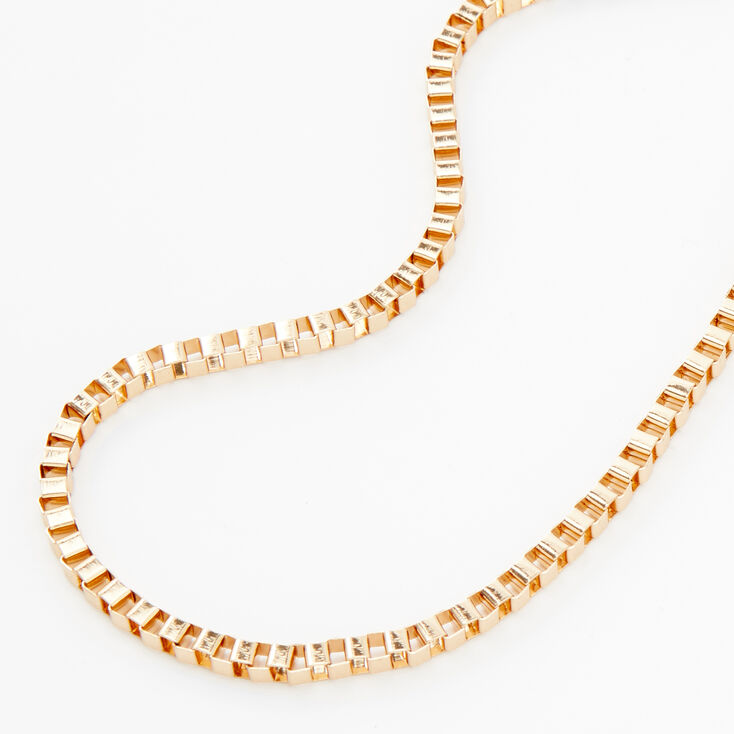 Gold Box Link Chain Necklace,